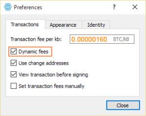 Ne pas oublier de configurer les dynamic fees dans Electrum