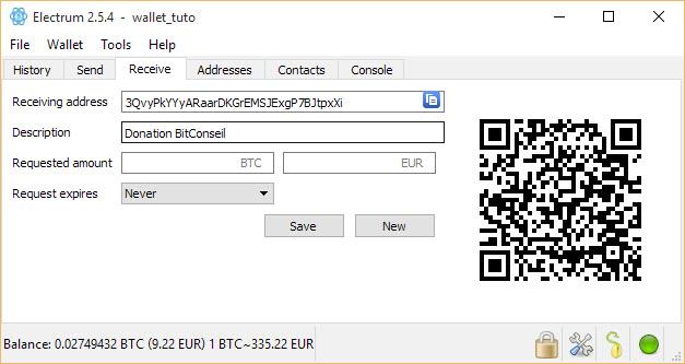 tutoriel pour recevoir des bitcoins avec Electrum Bitcoin Wallet