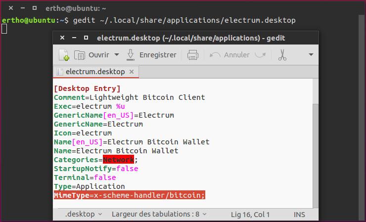 Ouvrir lien bitcoin Ubuntu Unity