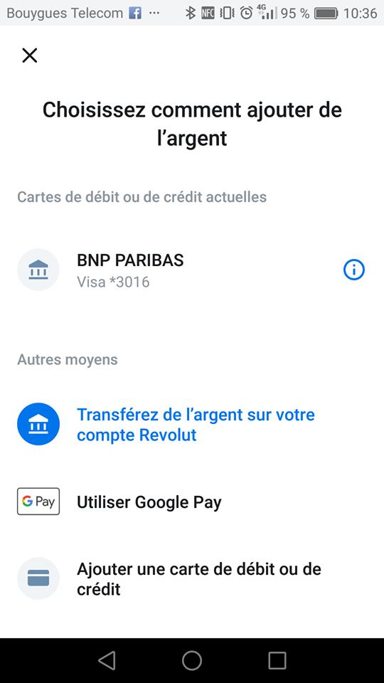 Choisir moyens de paiement Revolut