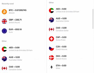 Choix de devises Revolut